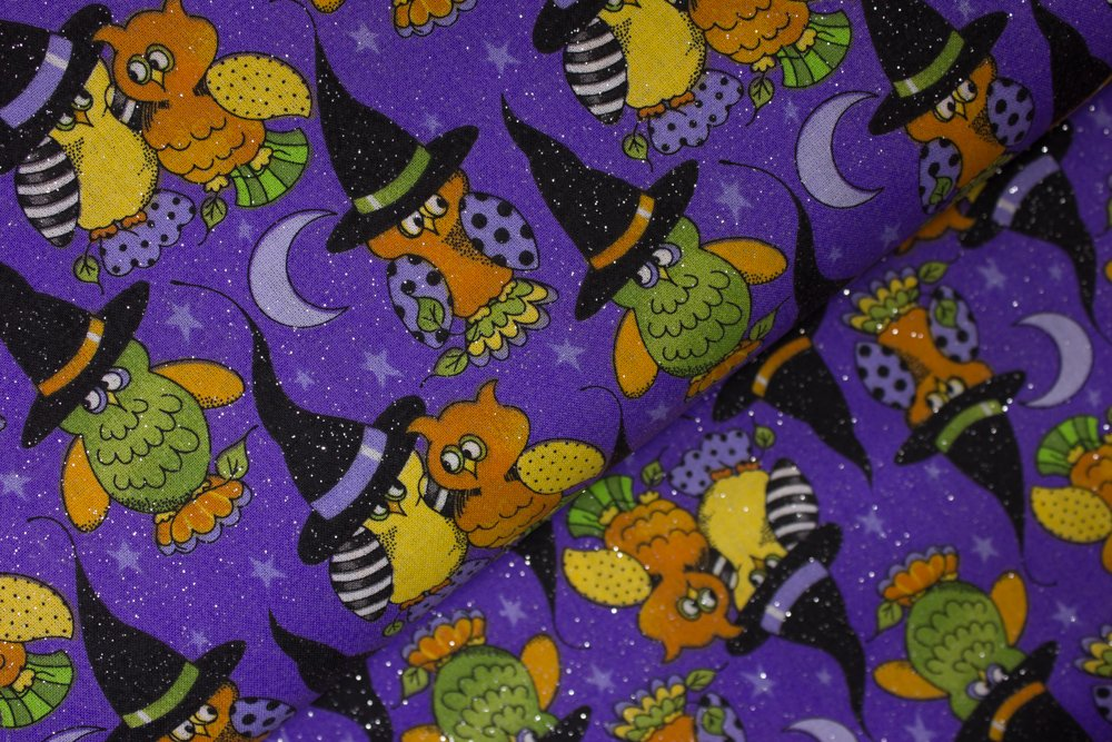 Owls in Witch Hats on Purple with Silver Glitter by Patty Reed Designs - Laurie Campbell La-di-draw Inc for Fabric Traditions