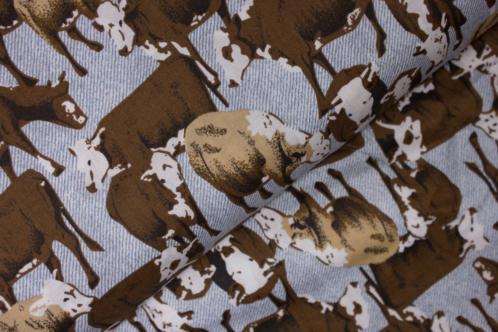 Brown Cows on Blue:  Cattle Drive by Concord House