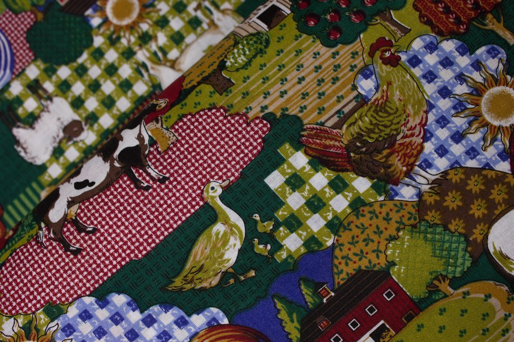Cows, Roosters, Ducks, Sheep, Horses, Pigs on Fabric Design Background:  Farm Animals by Concord House