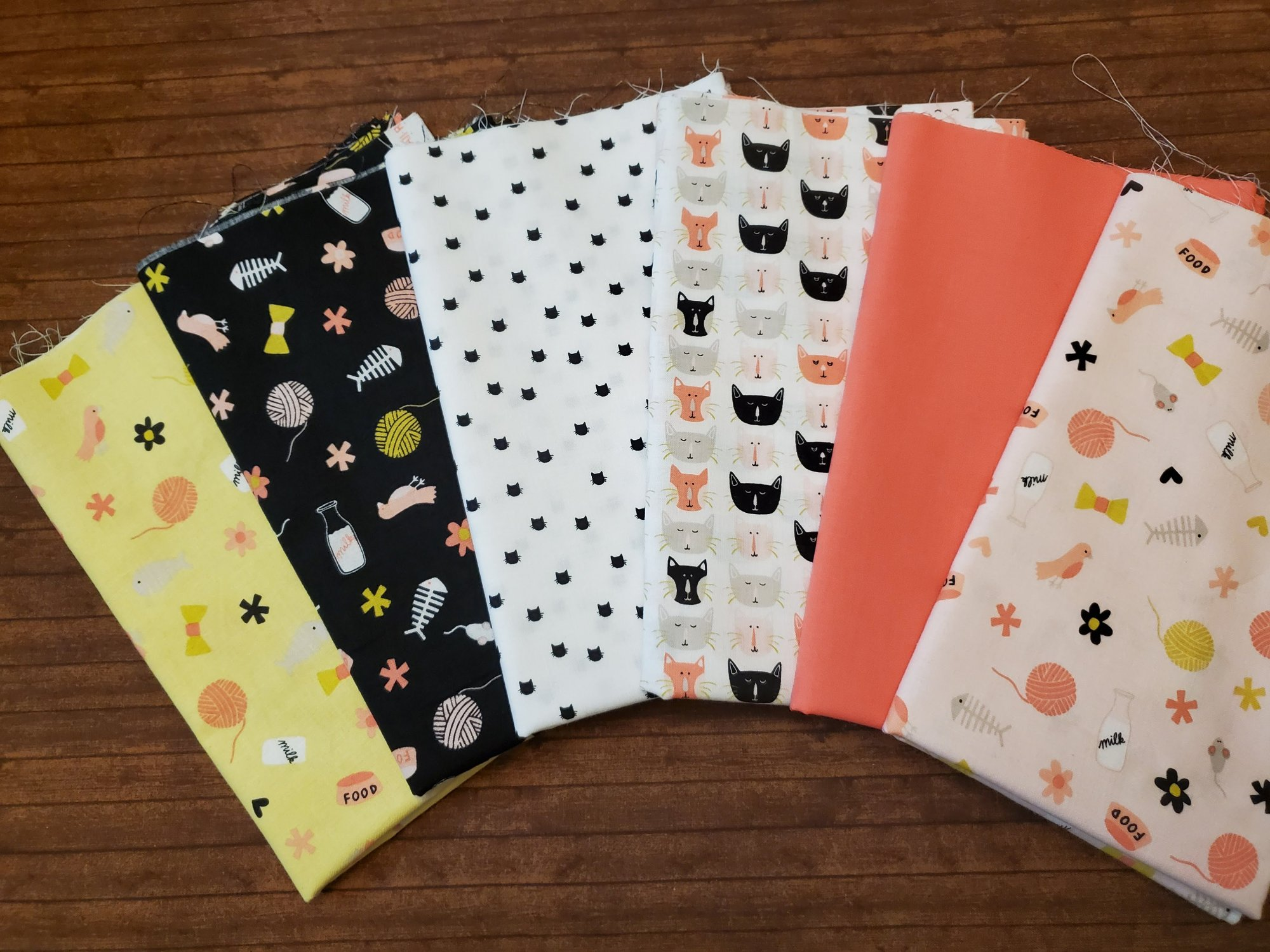 Cat's Meow by Riley Blake - 6 Piece Half Yard Bundle Pack