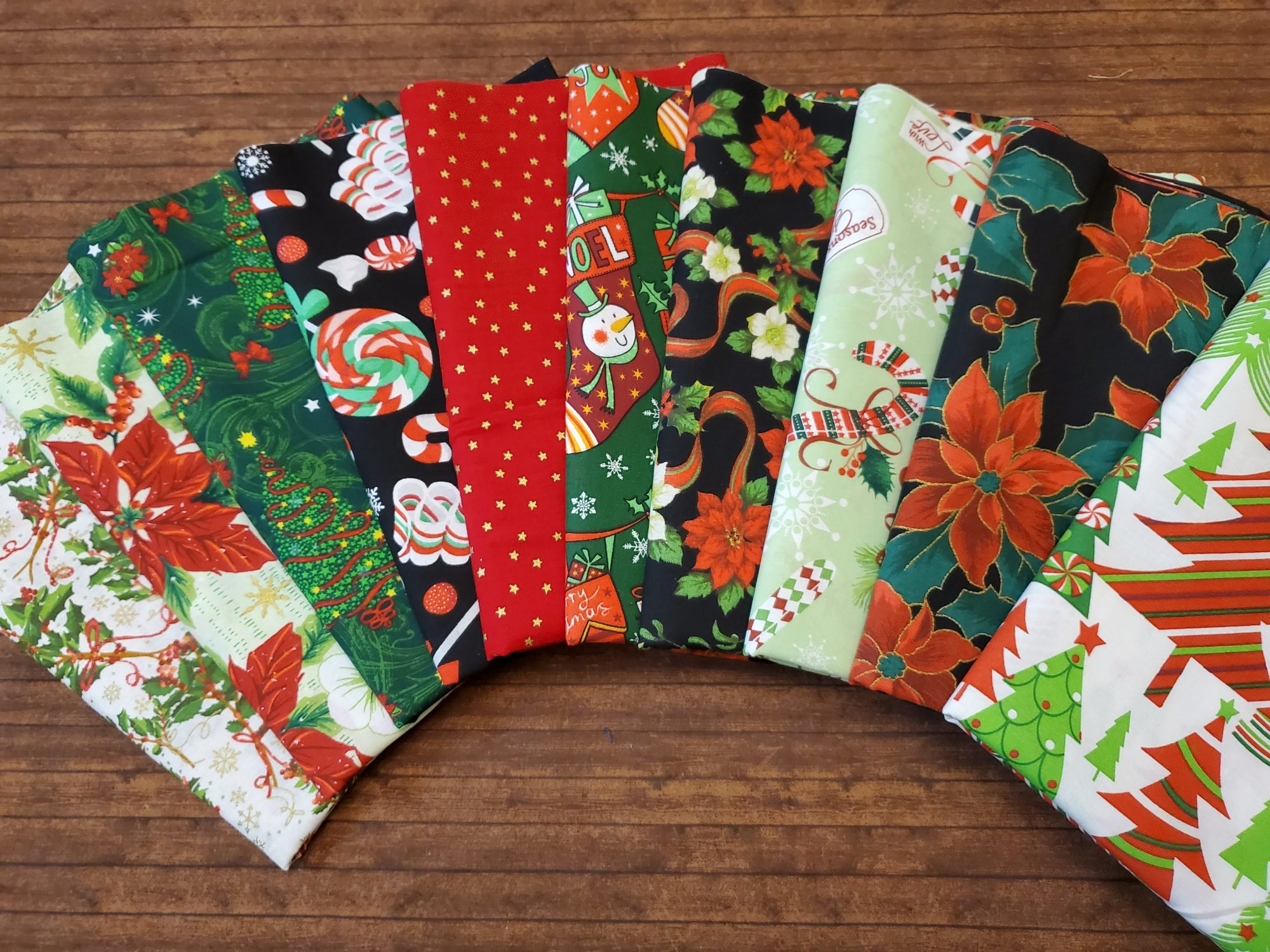 Mostly Red and Green Christmas - 10  Piece Half Yard Bundle Pack