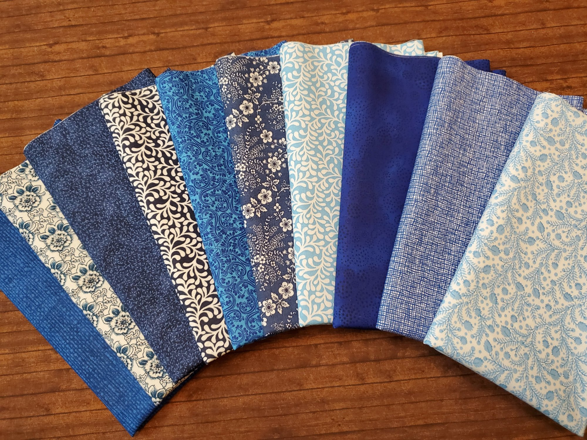 Mixed Variety of Blues - Rachael's Picks - 10 Piece Half Yard Bundle Pack