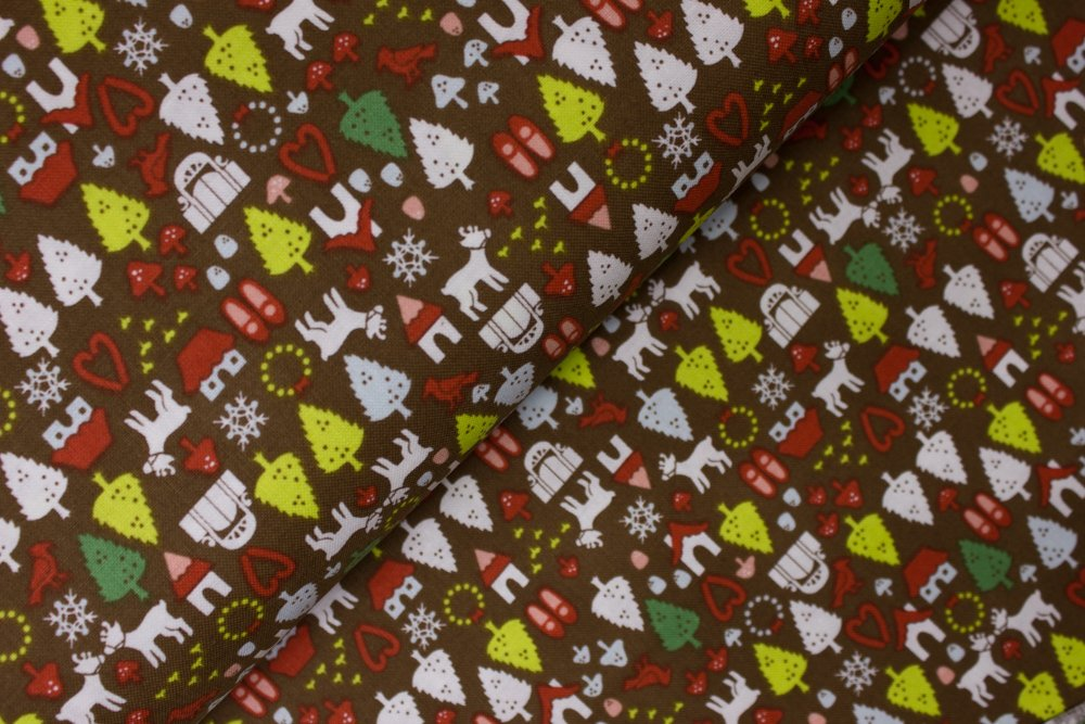 Tiny Trees, Houses, Reindeer, and Snowflakes on Brown:  North Pole Ditsy by De Leon Design Group for Alexander Henry Fabrics