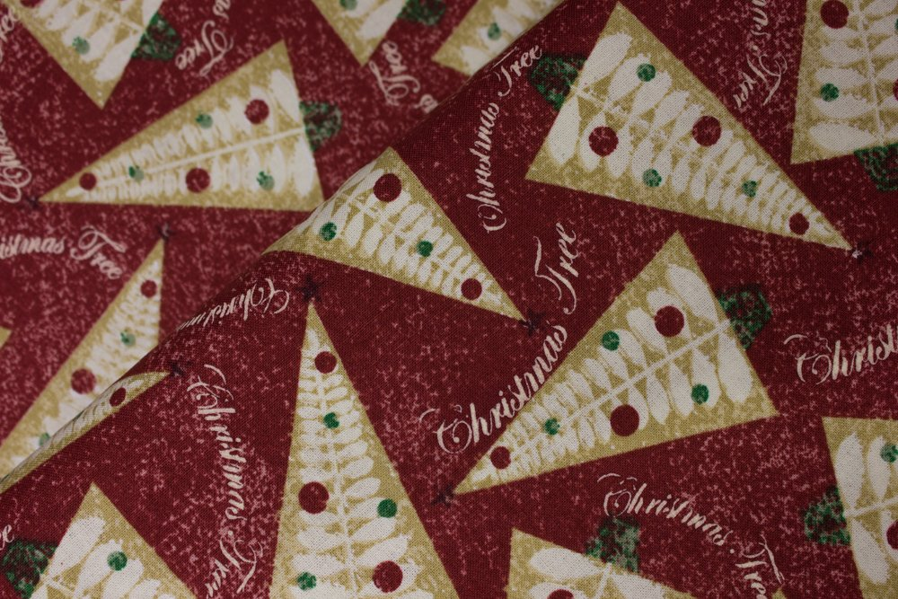 Tan Christmas Tree Triangles on Red