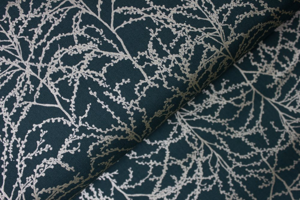 Silver Pearlized Tree Branches on Evergreen:  Winter Shimmer by Jennifer Sampou for Robert Kaufman