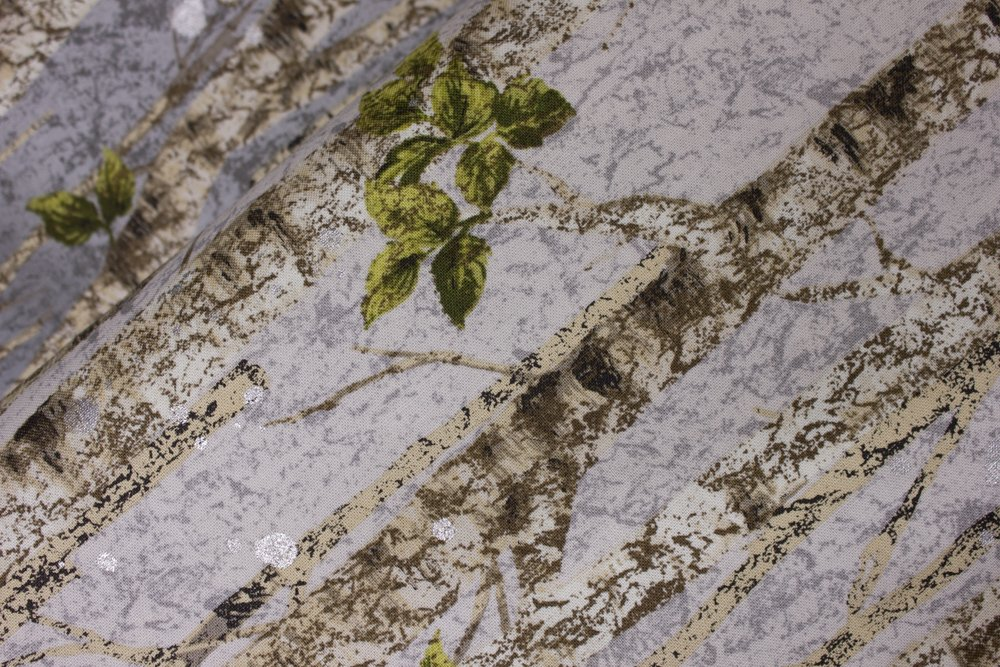 Birch Trees on Gray with Silver Metallic Accents:  Nature's Window by RK Studios for Robert Kaufman