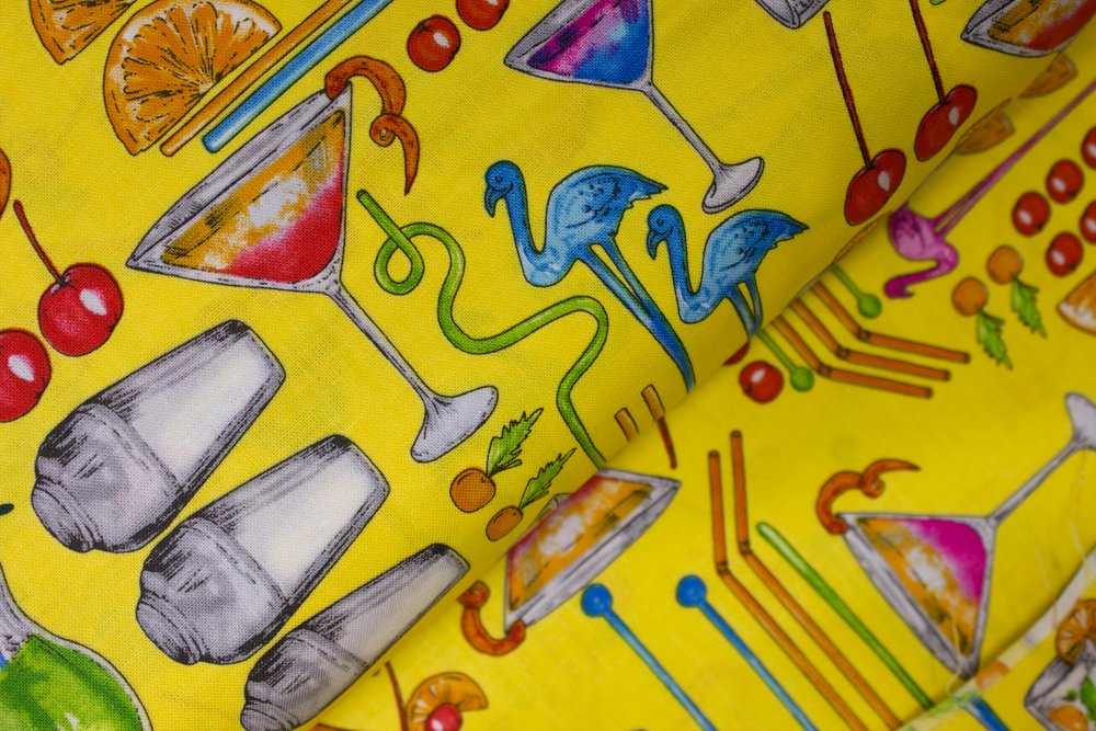 Mixed Drinks on Yellow: Happy Hour II - Tropical Punch by Greta Lynn for Kanvas Studio in association with Benartex