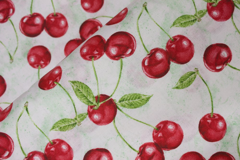 Cherries on White and Green