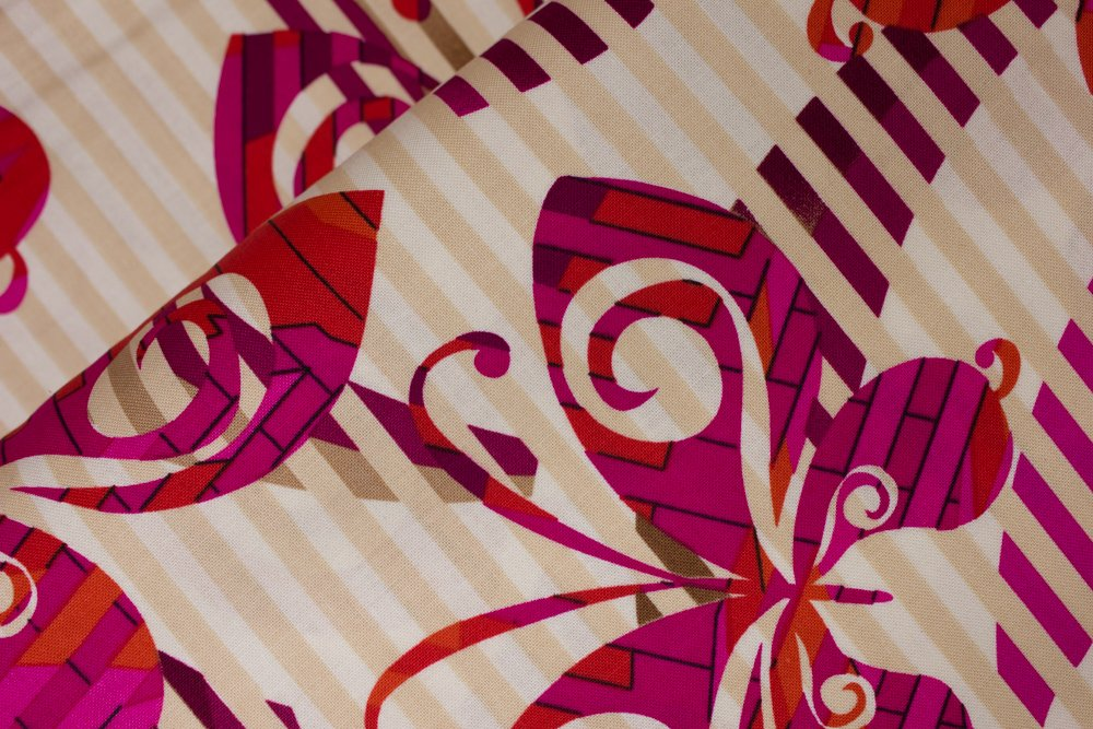 Pink and Red Butterflies on Cream and Beige Stripes:  Butterfly Concerto - Mixxoni by Greta Lynn for Kanvas Studio in association with Benartex