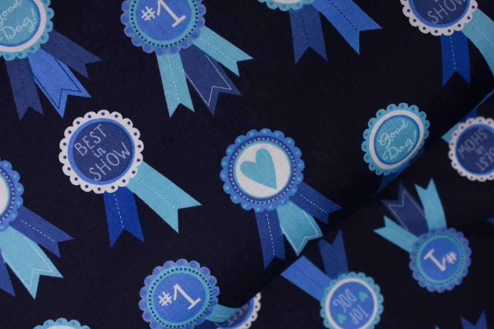 Dog Show Blue Ribbons on Black:  Classy Canines by Pink Light Design for Robert Kaufman