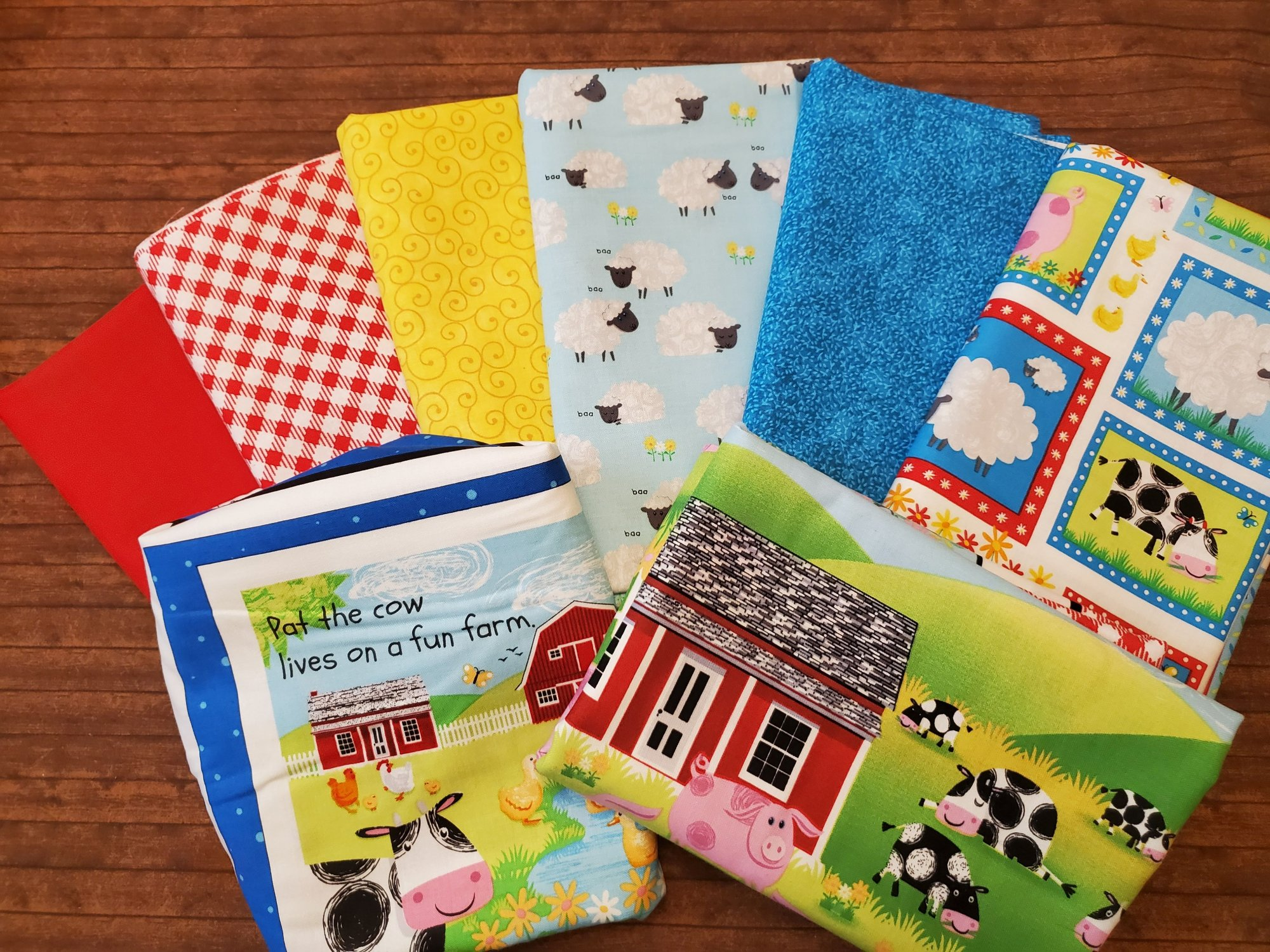 Best Friends Farm by Kate Mawdisley for Henry Glass Fabrics - 6 Piece FULL Yards + 2 panels (Cloth Book plus Large Scenic Panel)Bundle Pack
