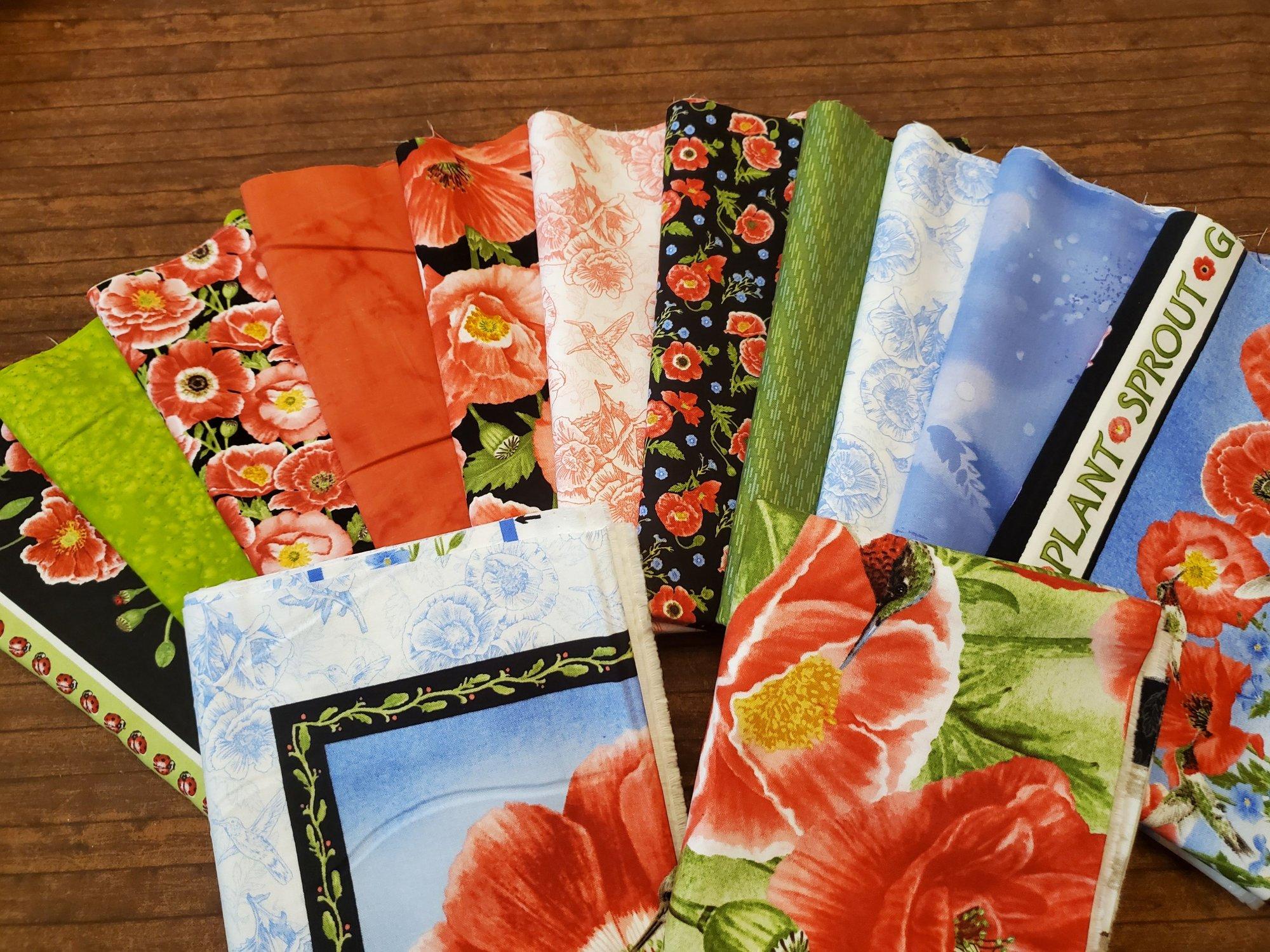 Poppy Meadows - by Jane Shasky for Henry Glass Fabrics - 11 half yards plus 2 Panels