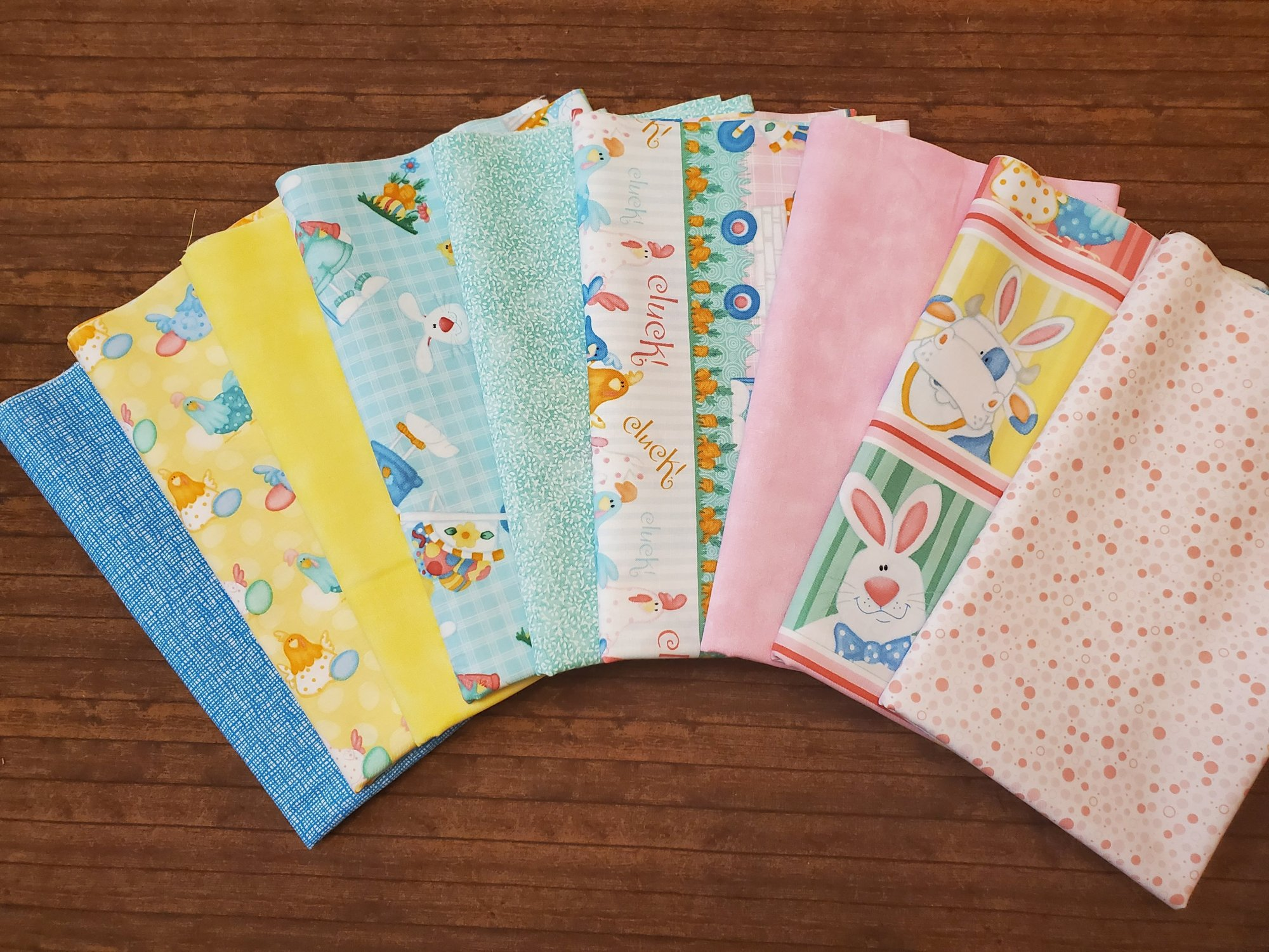 Down on the Bunny Farm by Shelly Comiskey for Henry Glass Fabrics - 9 Piece Half Yard Bundle Pack