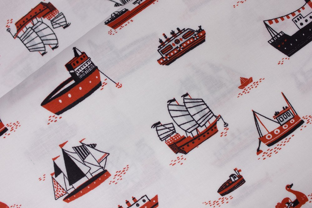 Black and Red Boats and Ships on White:  Hello Lucky by Robert Kaufman