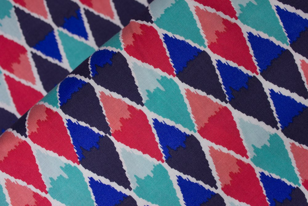 Tonal Diamonds in Aqua, Blue, and Coral:  Poppy by Maude Asbury for Blend Fabrics