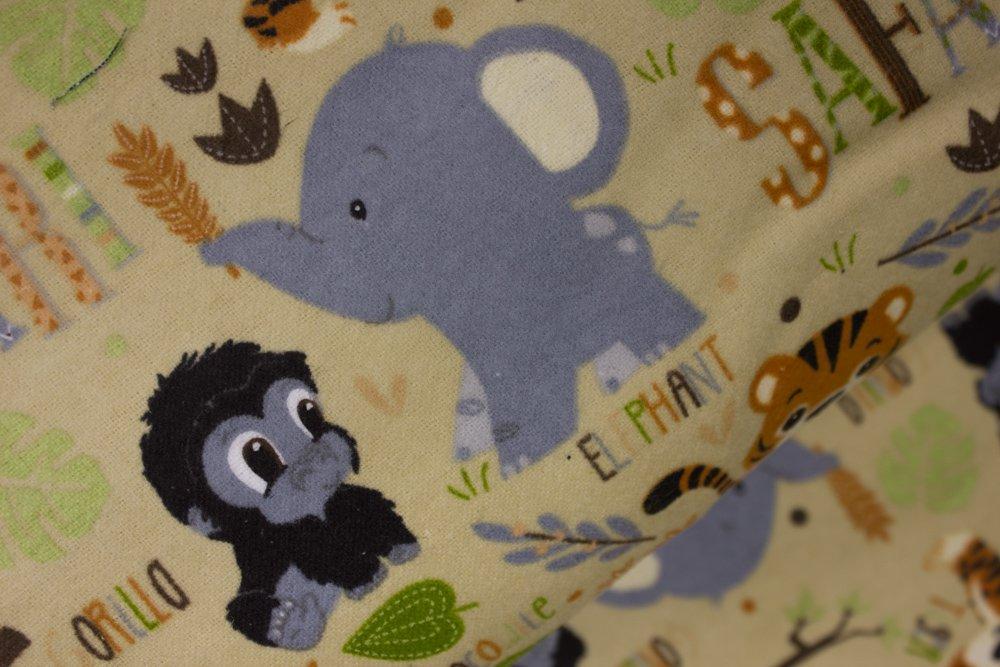 Flannel:  Safari Animals on Tan:  Fun Flannels by Oasis Fabrics