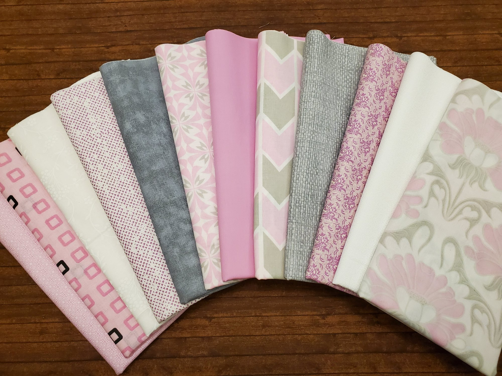 Grace in Pink, Plum and Gray  by Springs Creative and more - 12 half yards Bundle Pack