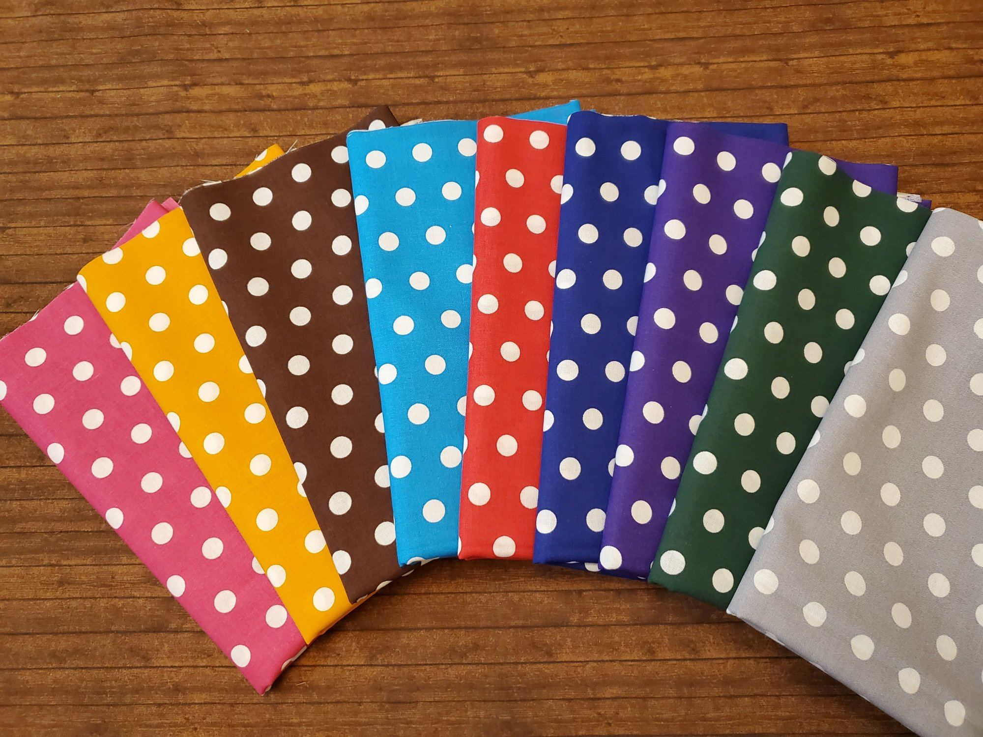 White Polka Dots on Color - Rachael's Picks - 9 Piece Half Yard Bundle Pack