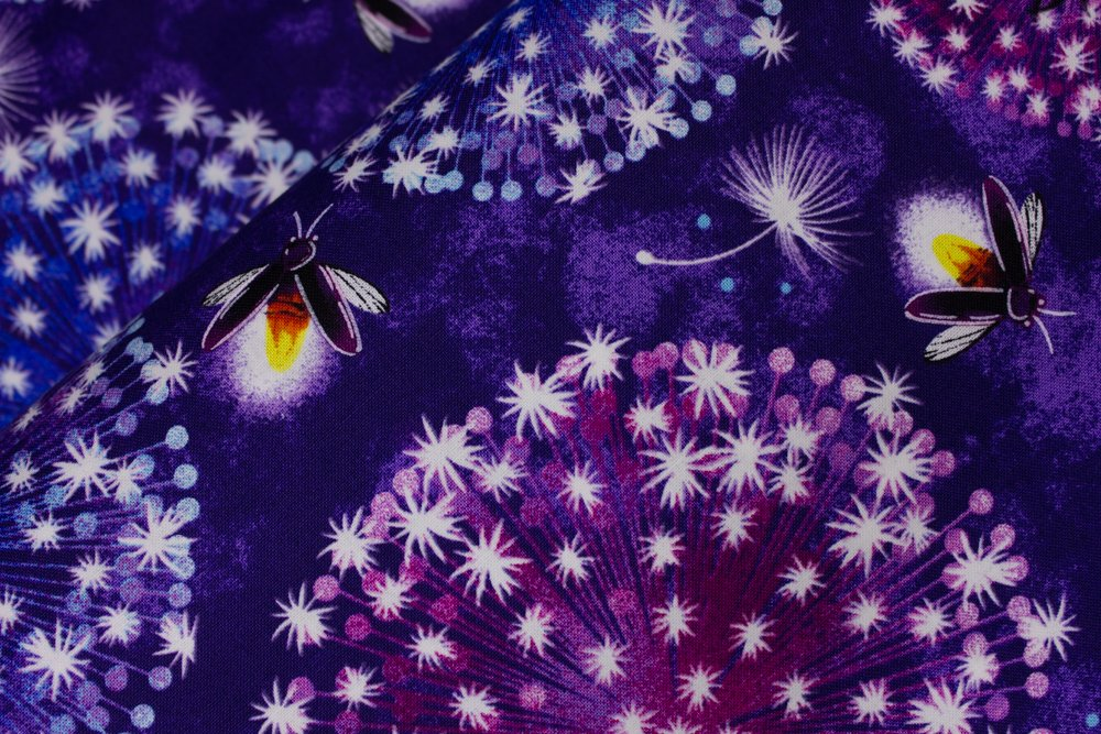 SPECIALTY FABRICS:   Fireflies and Starry Dandelions on Dark Purple:  Let Your Light Shine - Glow in the Dark Fabric by Blank Quilting