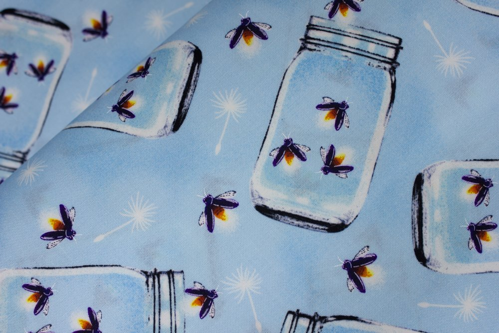 SPECIALTY FABRICS:   Fireflies in Jars on Blue:  Let Your Light Shine - Glow in the Dark Fabric by Blank Quilting
