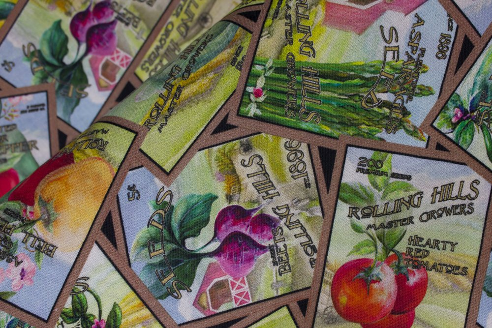 SPECIALTY FABRICS:   Tossed Vegetable Seed Packets Blocks on Blacks:  Blissful Bounty by Blank Quilting