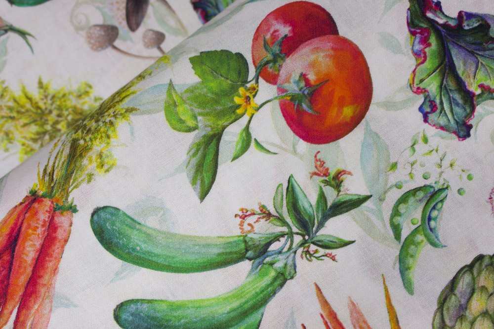 SPECIALTY FABRICS:   Tossed Vegetables on White:  Blissful Bounty by Blank Quilting