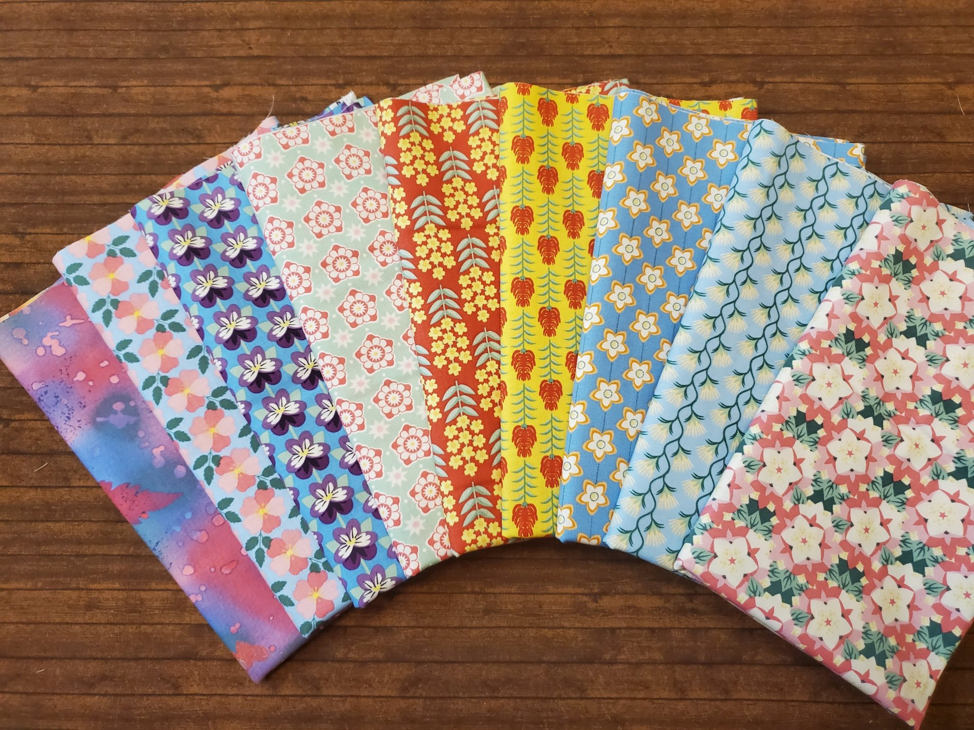 State Deco Flowers by In the Beginning Fabrics - 10 Piece Half Yard Bundle Pack