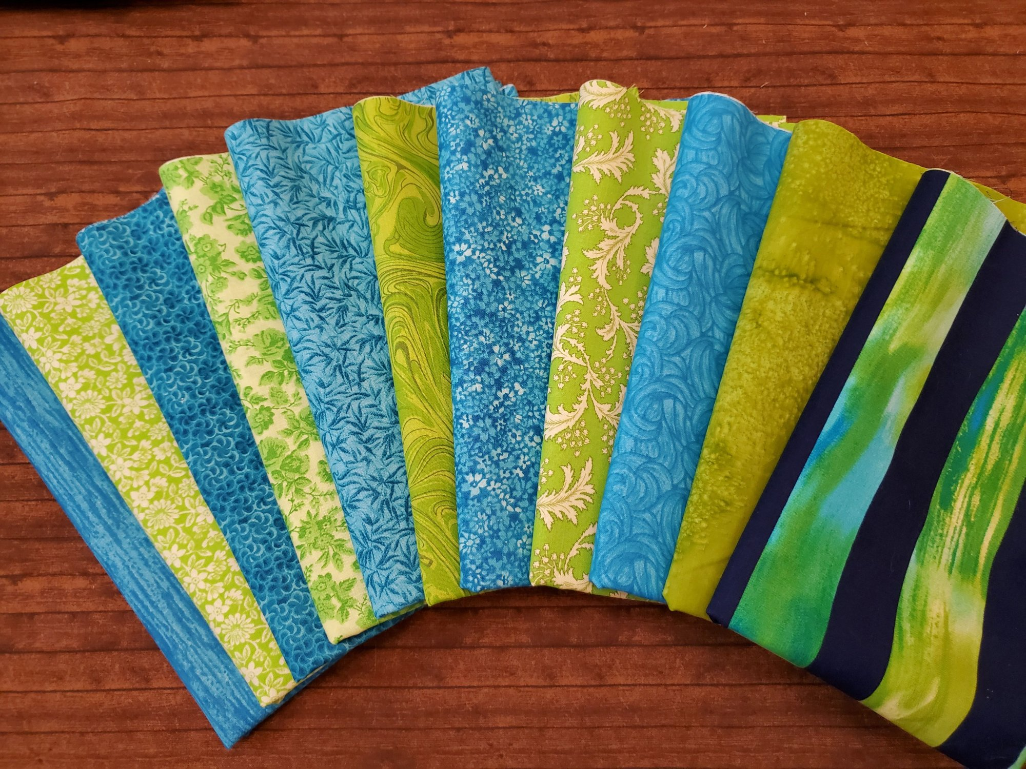 Lime and Turquoise - by a Variety of Manufacturers - 11 Piece Half Yard Bundle Pack