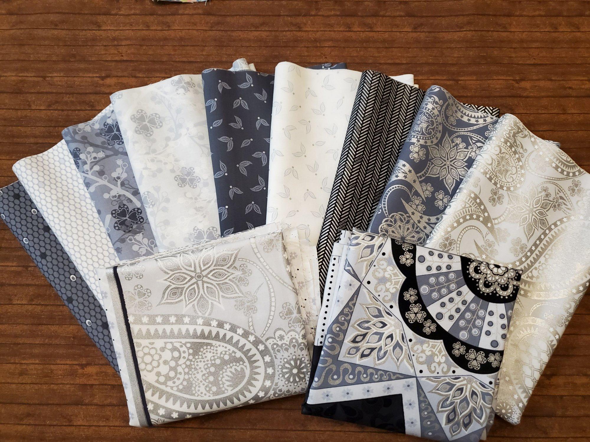 Jubilee Silver by Amanda Murphy for Benartex  - 9 Piece Half Yard + 2 Panels Bundle Pack