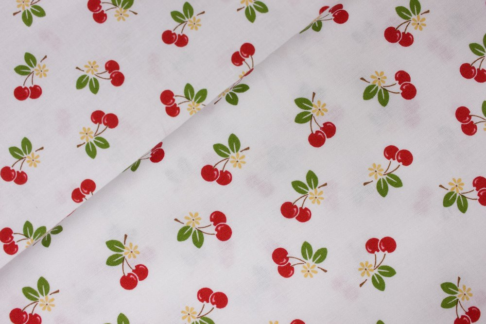 Red Cherries Floating on White: Sew Cherry 2 by Lori Holt for Riley Blake
