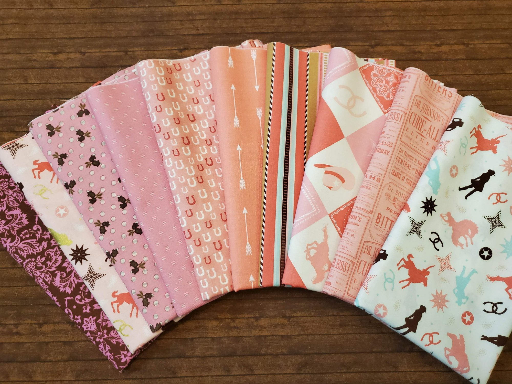 Cowgirl in Pink and Brown by Riley Blake mainly and others - 10 Piece Half Yard Bundle Pack