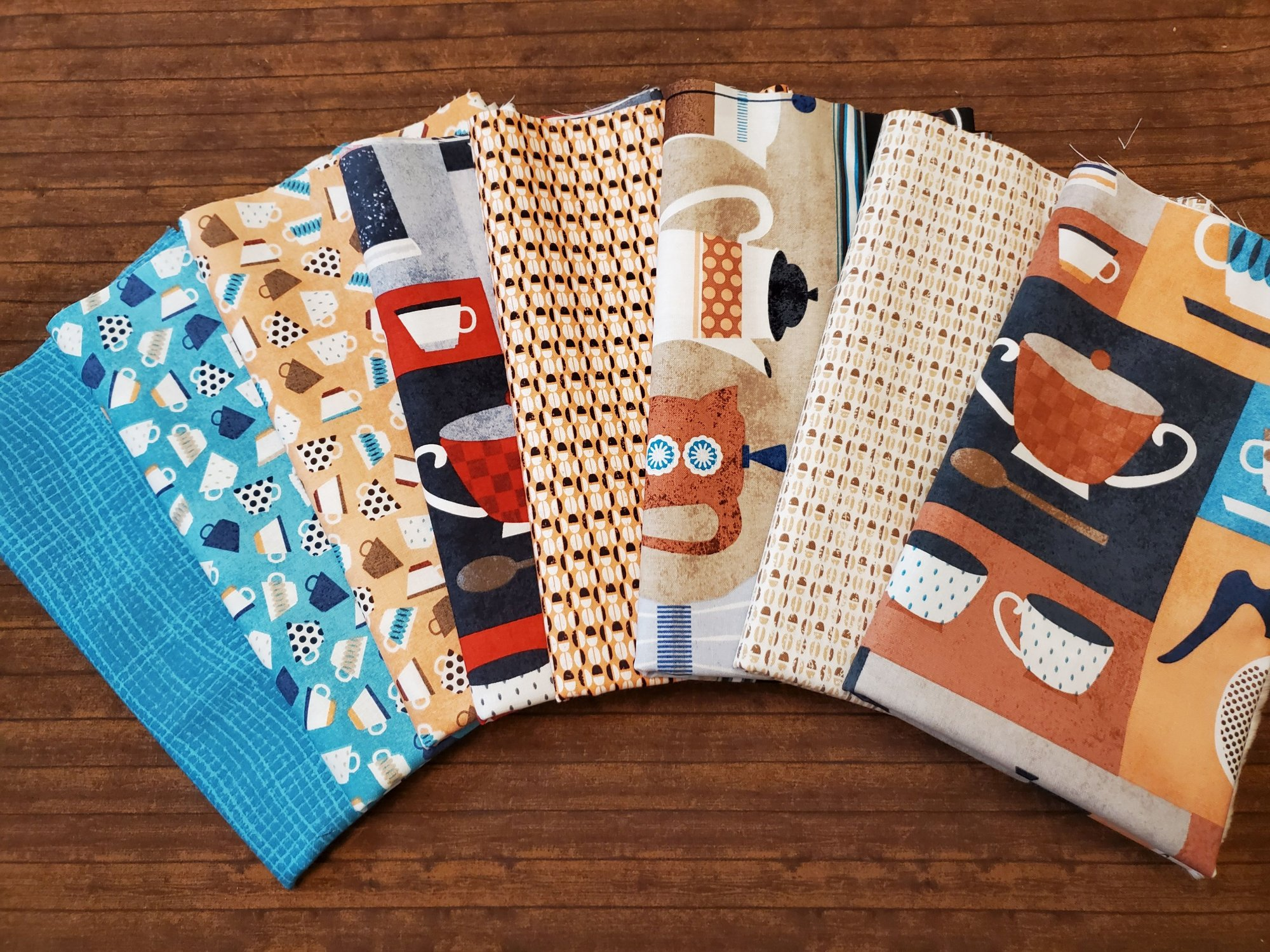 8 pc. Perfect Blend Coffee Pack with Turquoise by Greta Lynn for Kanvas - 8 Piece Half Yard Bundle Pack