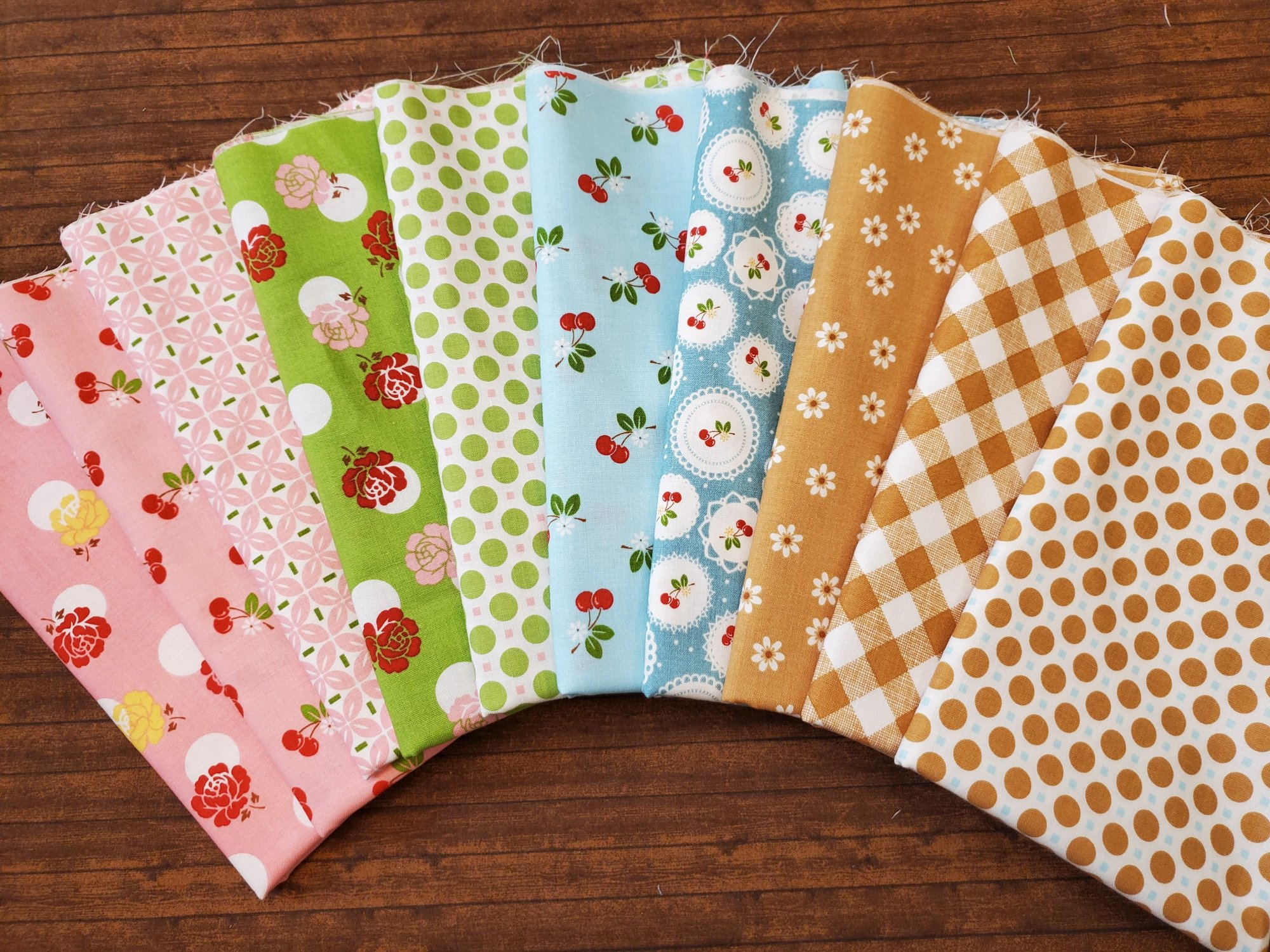 Sew Cherry 2 by Lori Holt for Penny Rose Fabrics- 10 Piece Half Yard Bundle Pack  with one piece that has a cut on the fold)