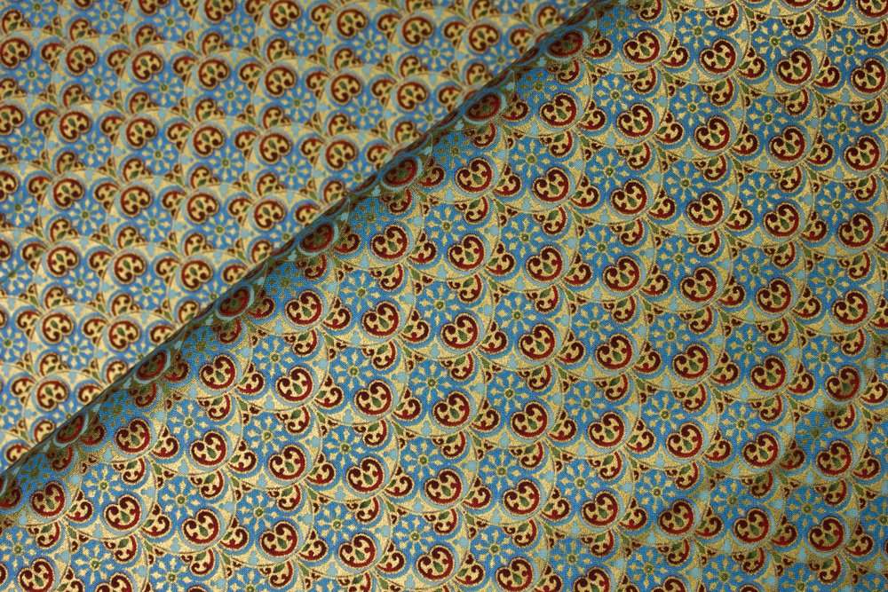 Aqua and Turquoise Blue with Red, Green, and Gold Metallic: Peaceful Holiday by Jason Yenter for In the Beginning Fabrics
