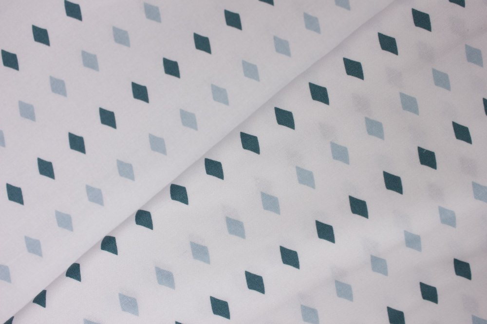 Teal Diamond Shapes on White:  Five & Dime by Heidi Staples from Fabric Mutt for Penny Rose Fabrics