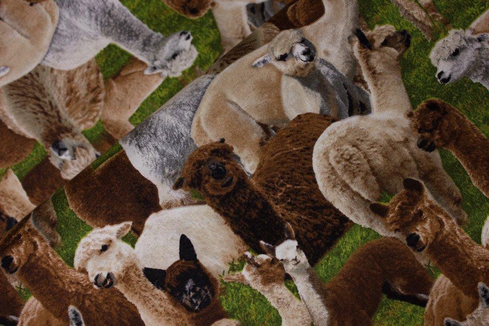 SPECIALTY FABRICS:  Packed Llamas on Grass: Farm Animals by Elizabeth's Studios