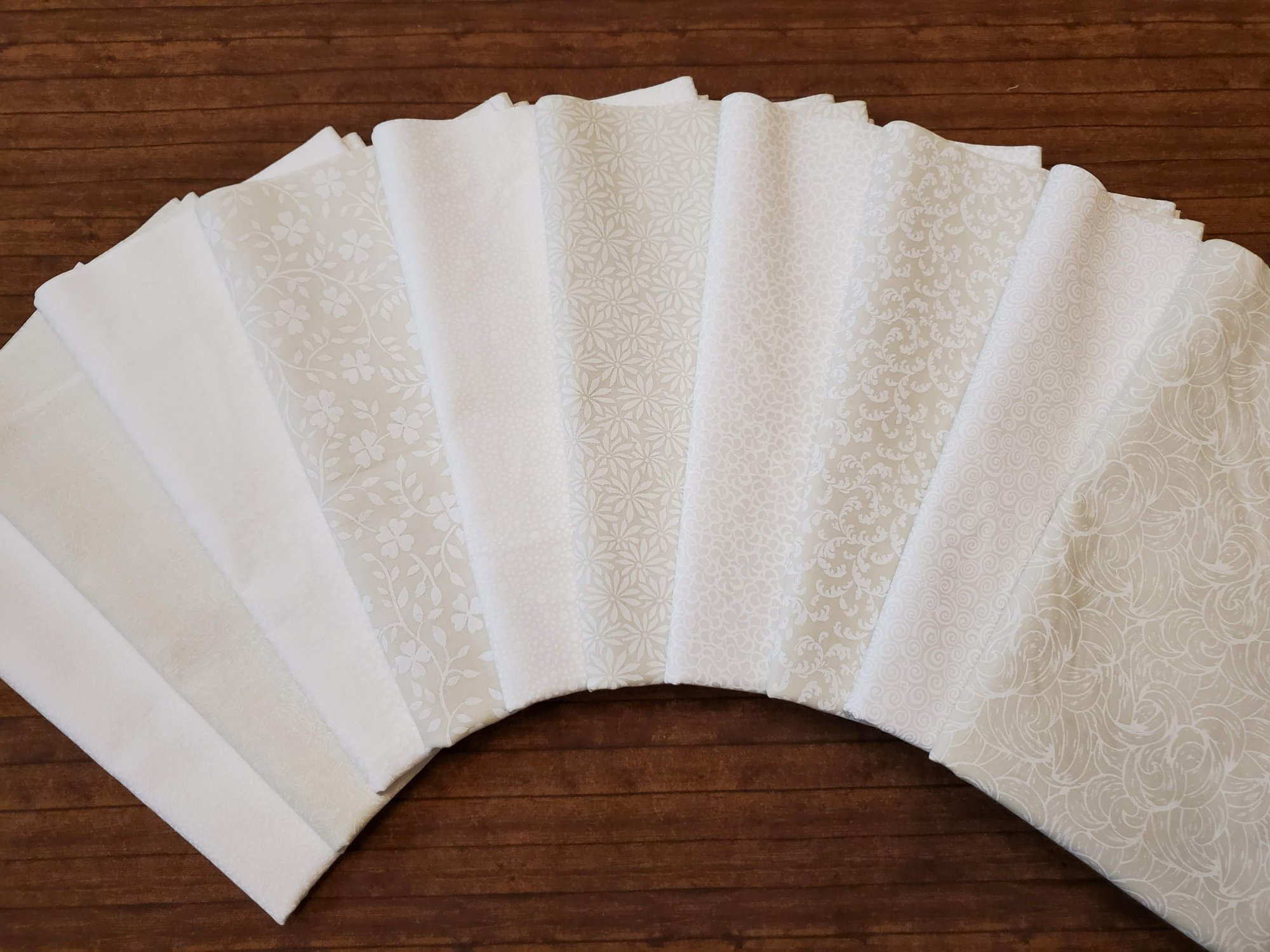 NEW DESIGNS: FULL YARDS: Whites and Off-Whites - 10 Piece FULL Yard Bundle Pack