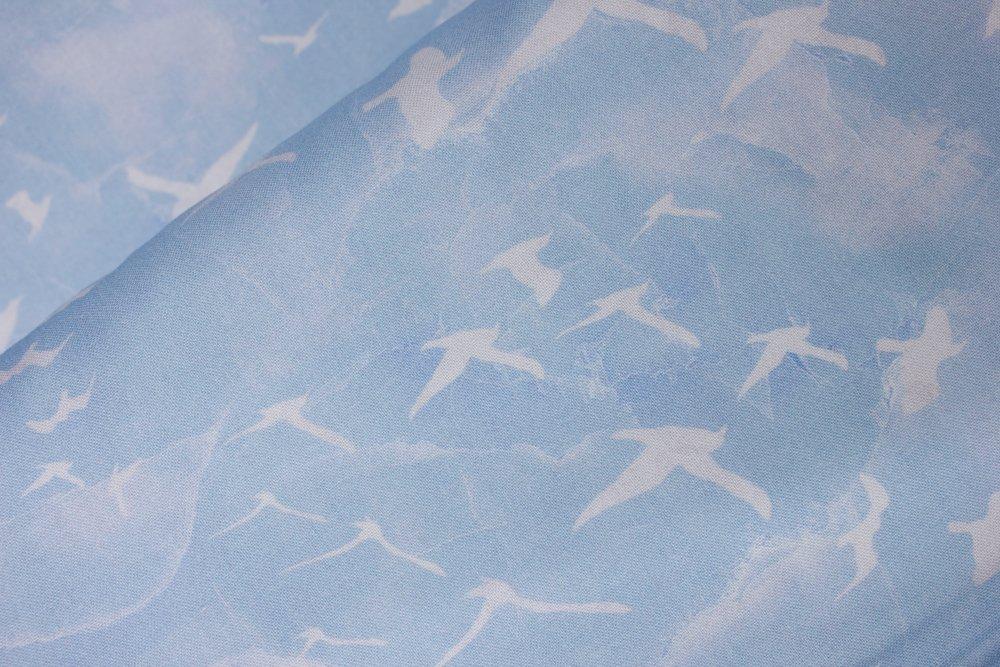 SPECIALTY FABRICS:  Seagulls Flying in the Blue Sky:  Swept Away - Flying Gulls by Deborah Edwards & Melanie Samra for Northcott