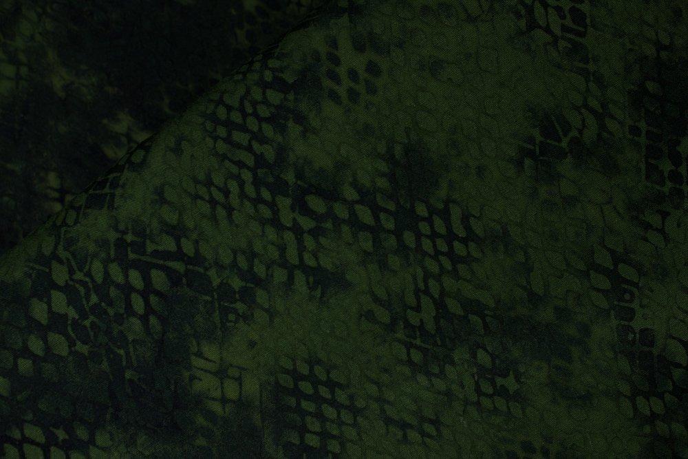 RAYON Snake Skin on Green Batik :  Jungle Snake by Island Batik.  100% Rayon