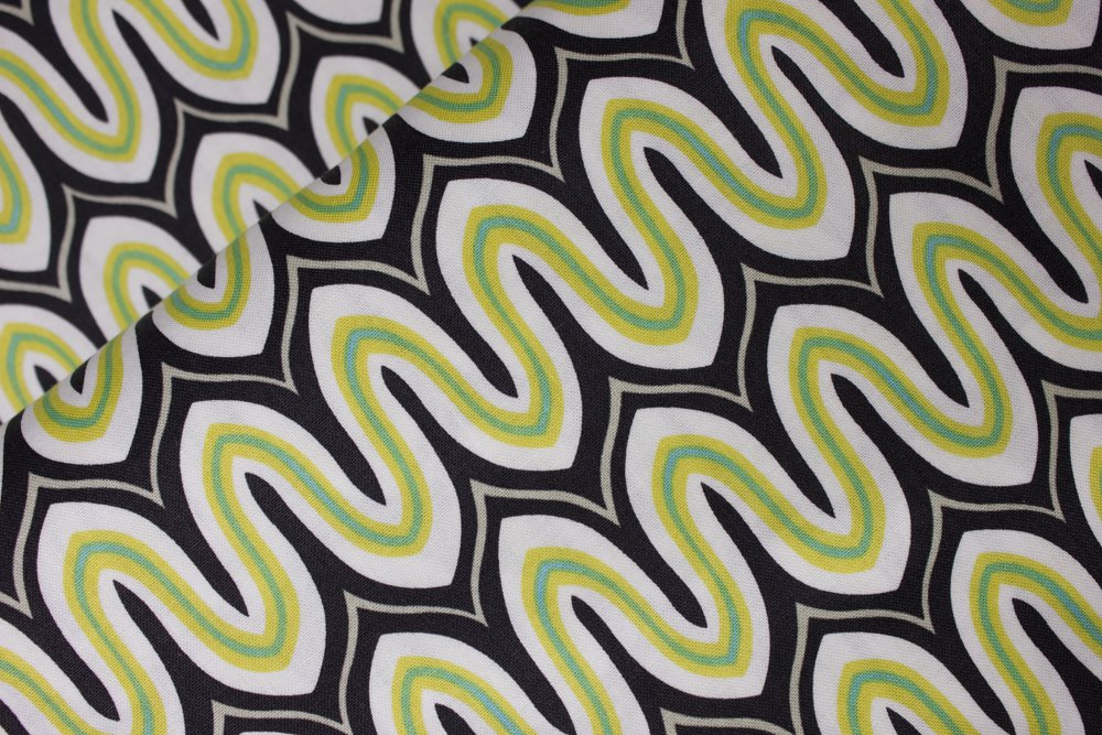 Lime Green and White Wavy Stripes on Black:  Equinox by Ana Davis for Blend Fabrics