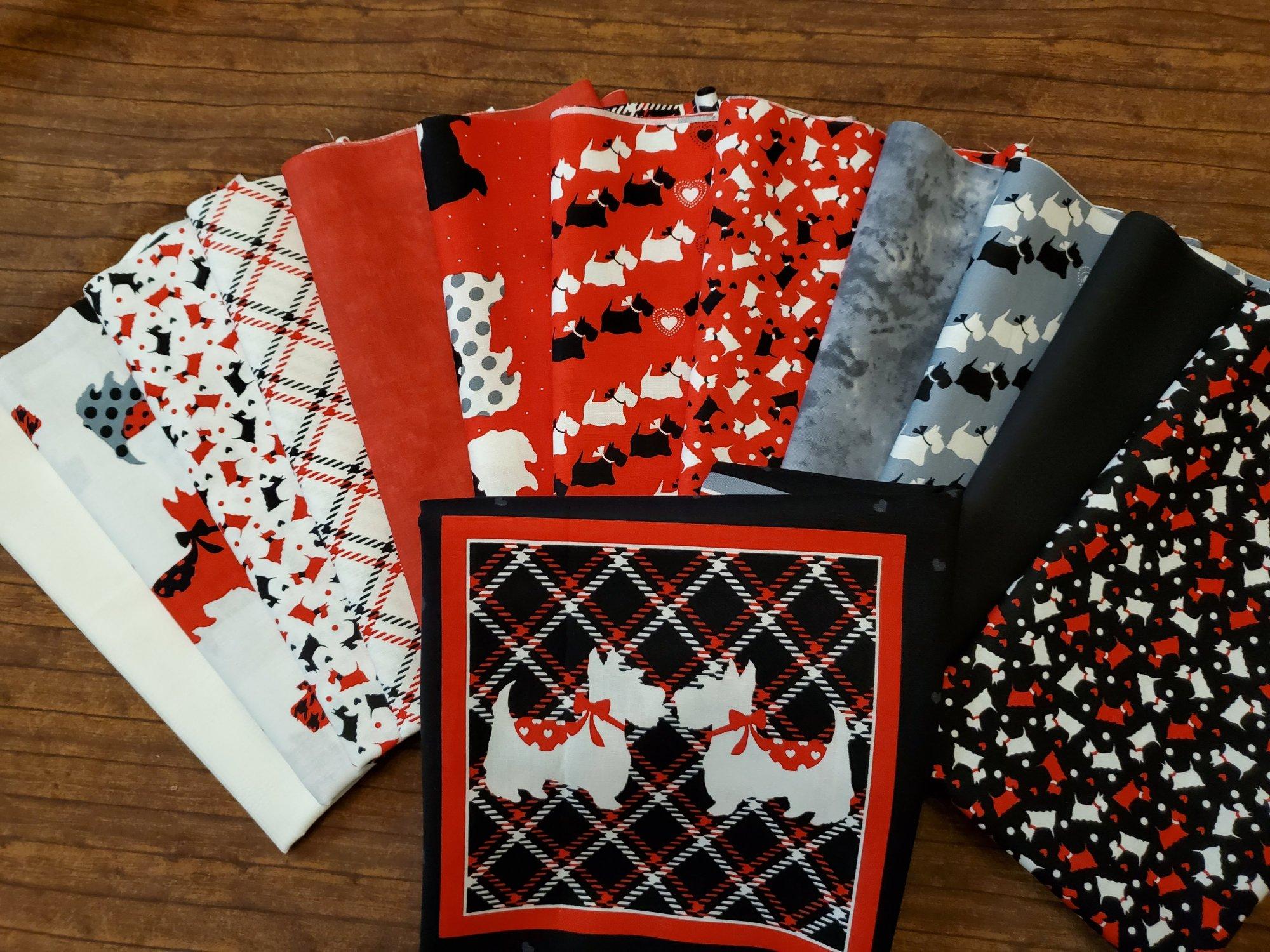 Dotty for Scottie by Greta Lynn for Benartex - 12 Piece Half Yards  + Blocks Panel Bundle Pack