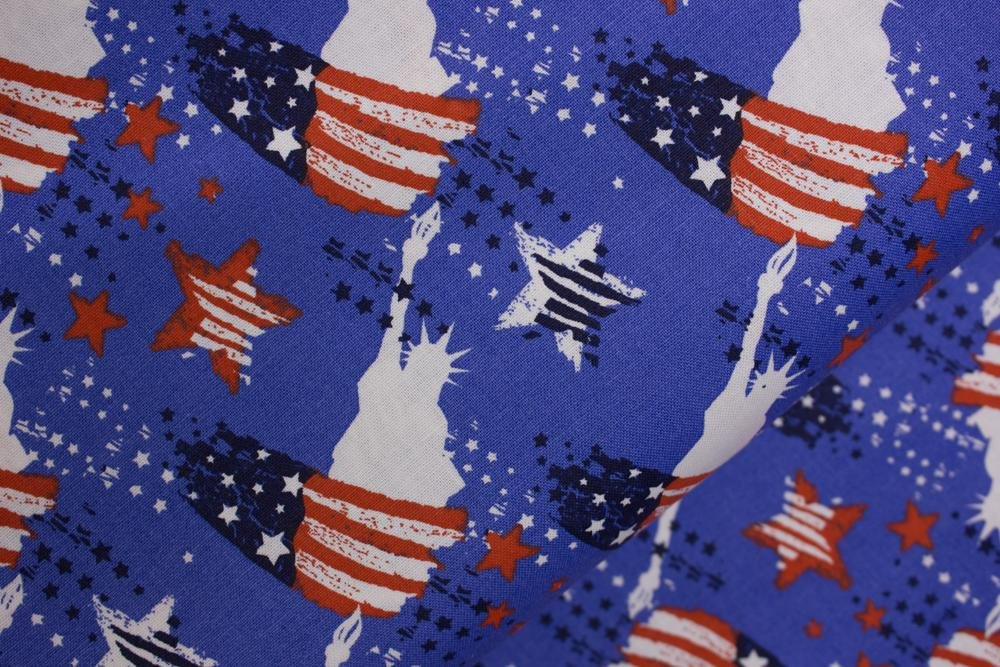 Blue with Lady Liberty Silhouette and Navy, Red, and White Stars and Stripes: Patriotic