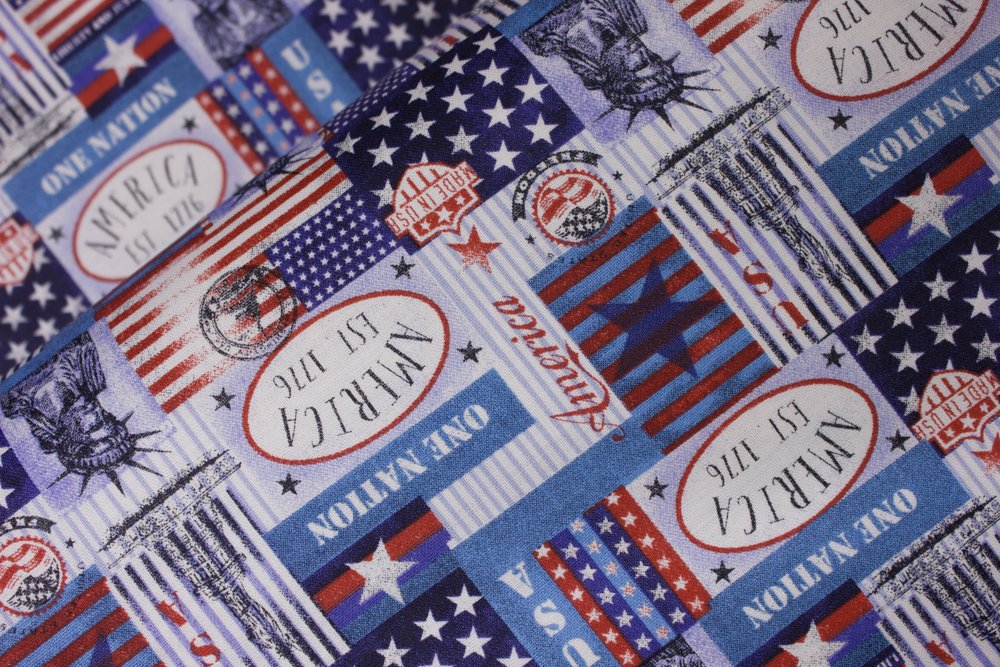 Patriotic Patches with Patriotic Icons, Words, Stripes and Stars: Patriotic