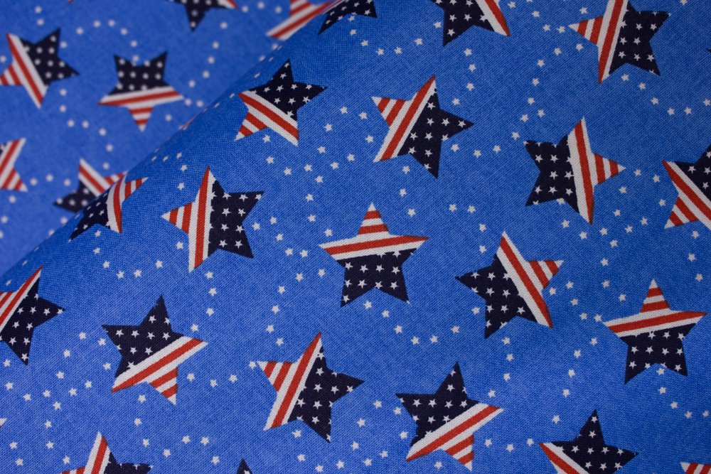 Light Blue with Stars and Stripes on Stars: Patriotic