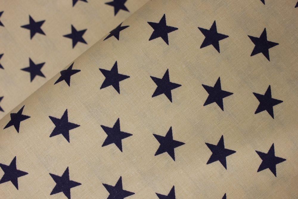 Large 3/4 Blue Stars on Tan - USA Patriotic