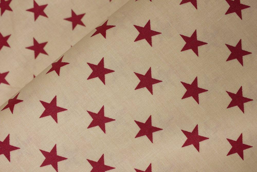 Patriotic 3/4 Red Stars on Tan