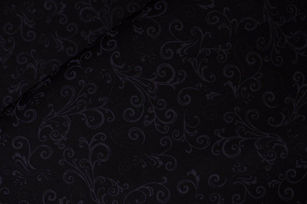 SPECIALTY FABRICS:  Tonal Black Jeweled Scroll:  Night & Day by Kanvas Studio in association with Benartex