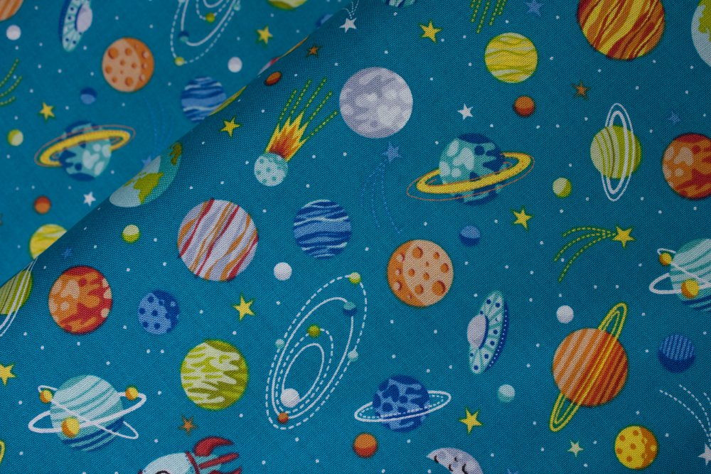 SPECIALTY FABRICS: Planets on Teal Blue:  Outer Space by Makower UK
