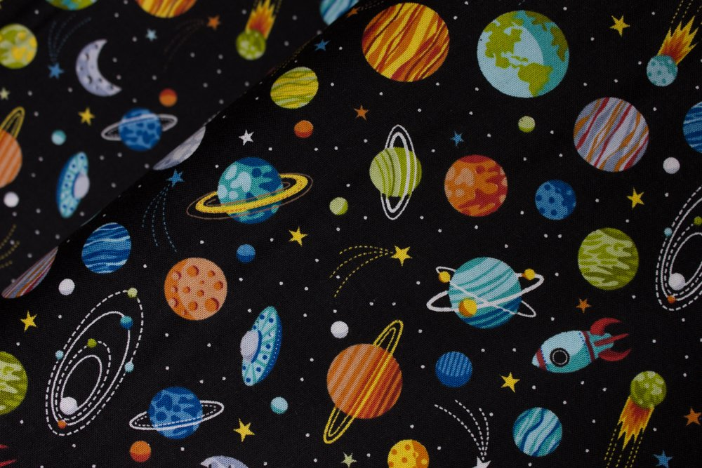 SPECIALTY FABRICS: Planets on Black:  Outer Space by Makower UK