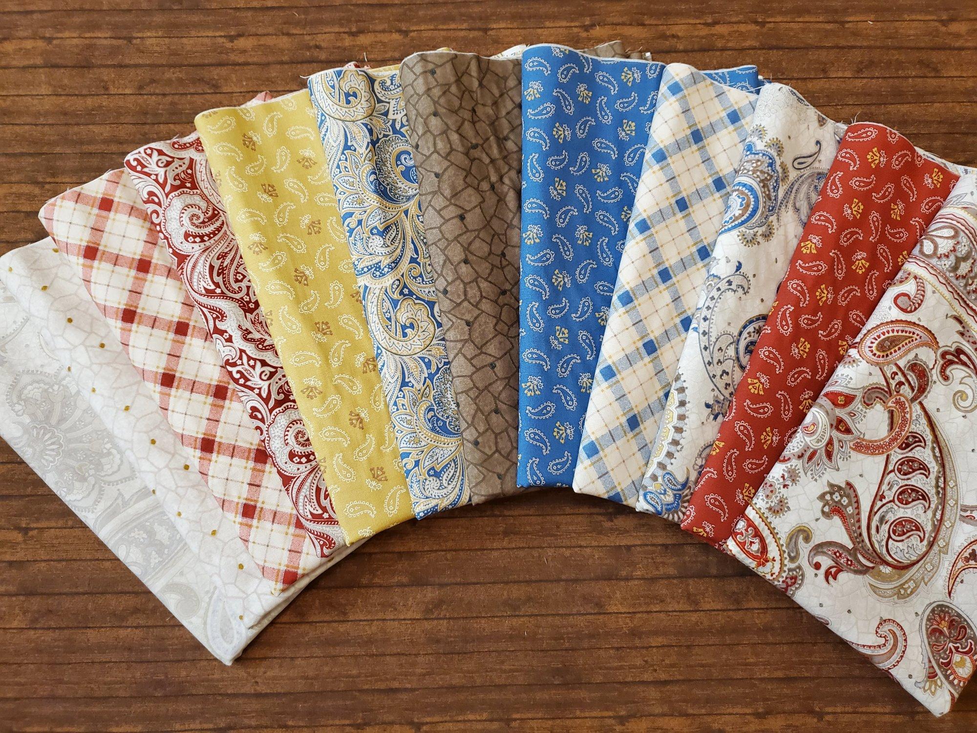 Paisley Palette  by Laura Berringer for Marcus Fabrics - 12 Piece Half Yard Bundle Pack